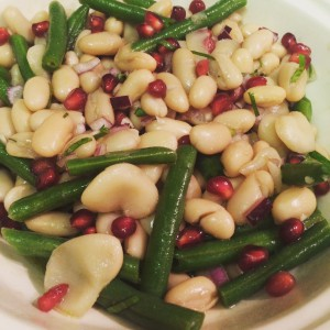 Bean salad with pomegranate vinaigrette