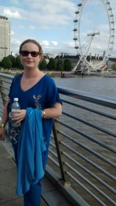 Wearing my blue V and A and Oasis top in London