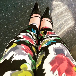 Vintage Chanel shoes and Oasis patterned trousers