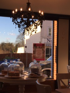 cakes and chandelier at Beatons Crowthorne