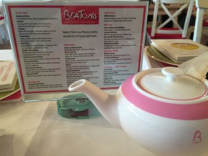The Beatons tea menu
