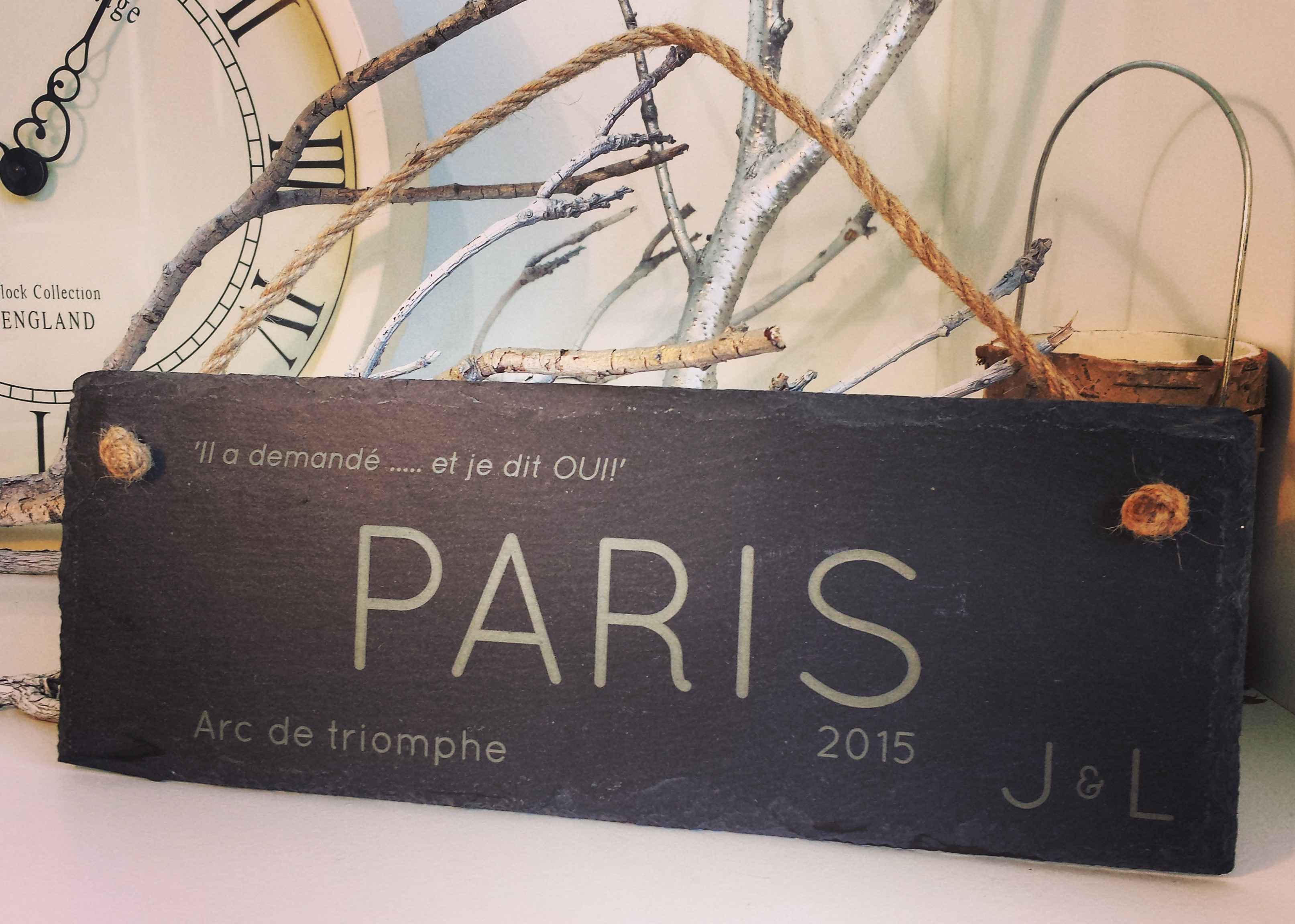 Bespoke slate Paris plaque