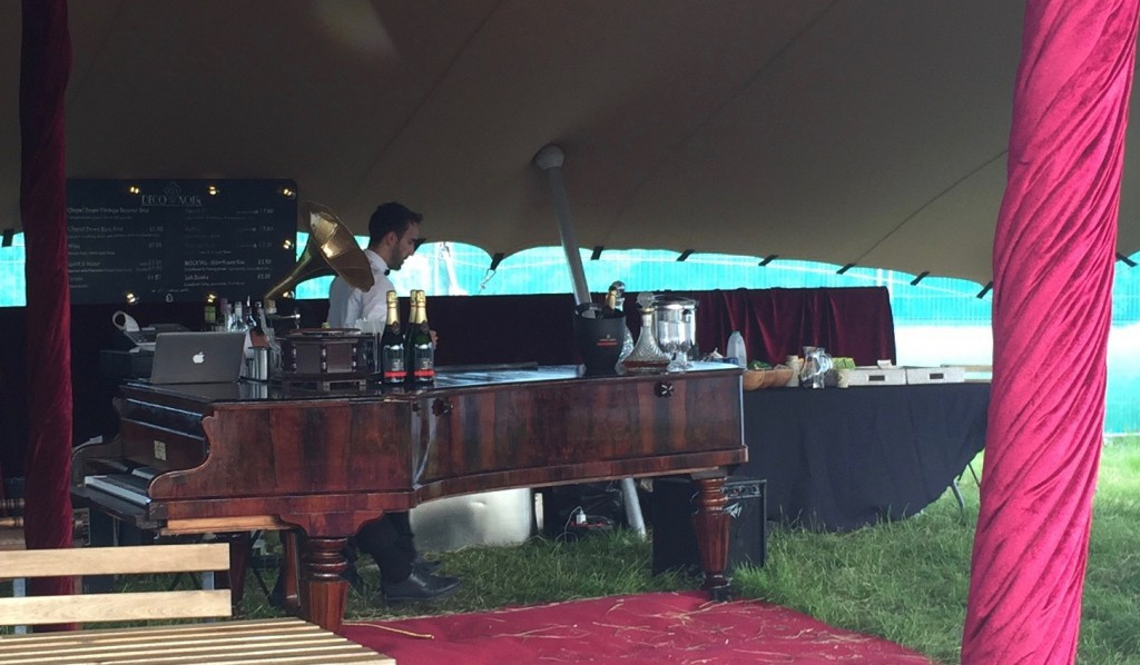 The grand piano VIP bar at Foodies Festival Syon Park