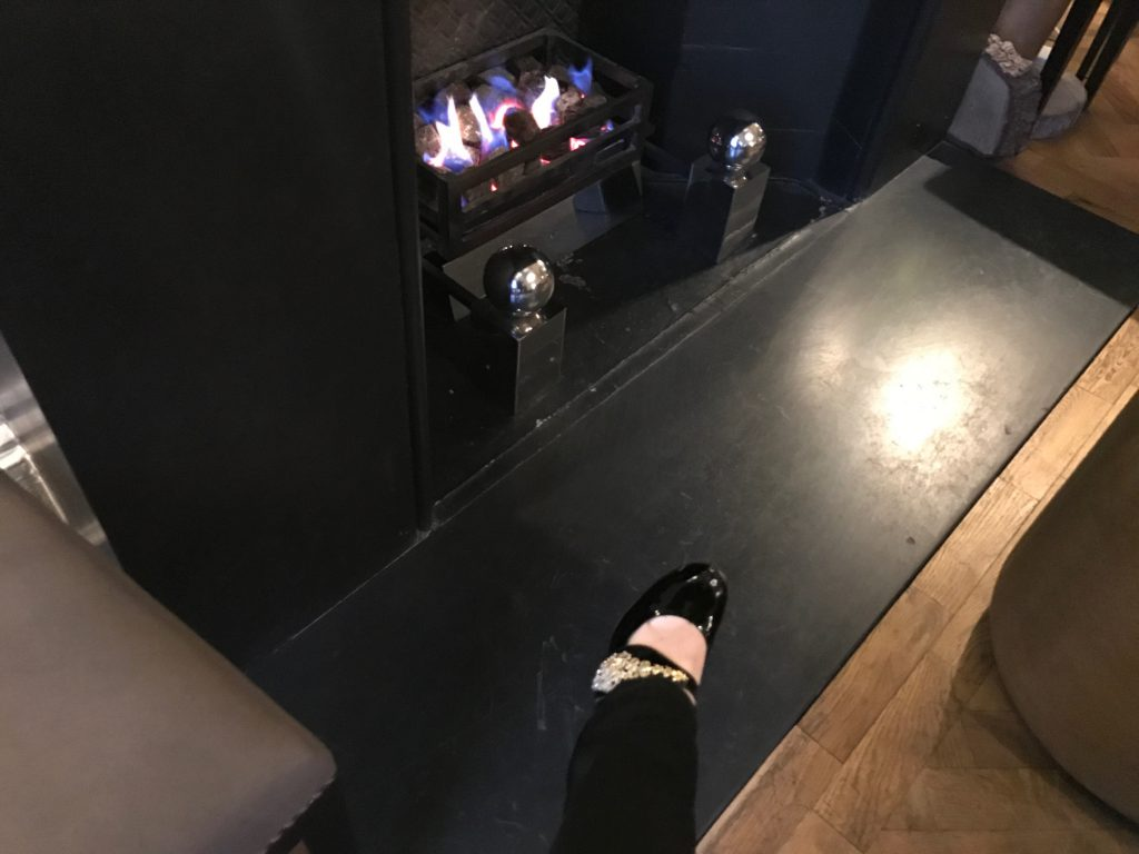 Shoes by the fire at the Bingham, Richmond