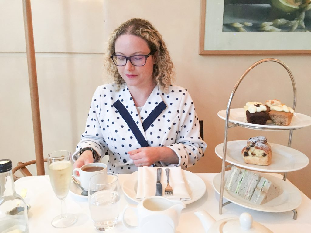 Rachael enjoying afternoon tea in London before lockdown