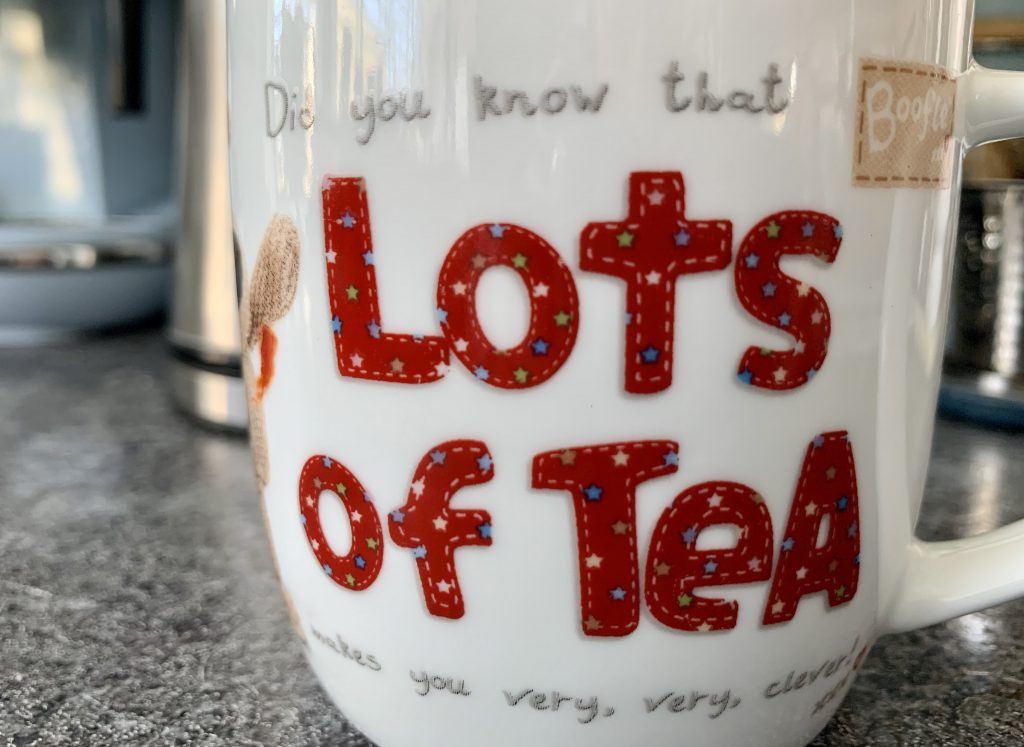 Boofle mug saying lots of tea makes you very clever