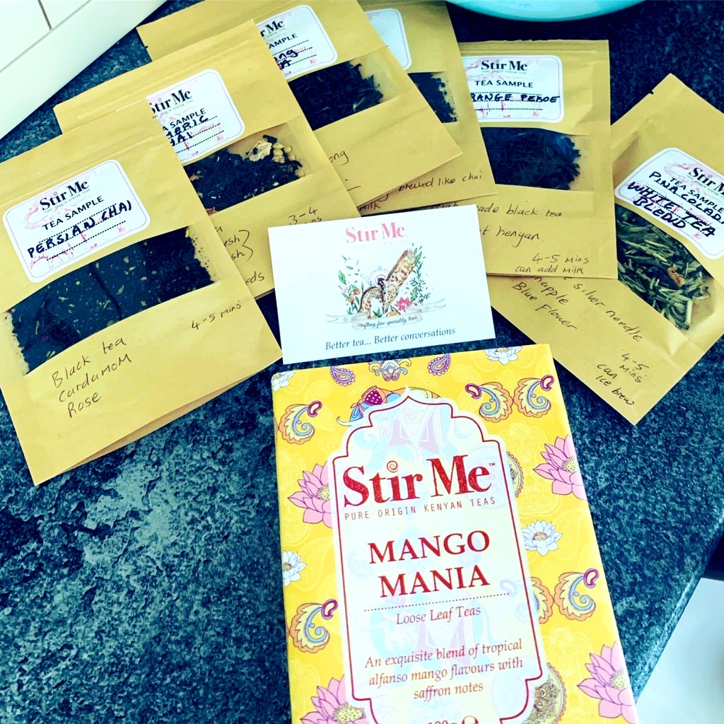 Sunny selection of Stir me teas with bright, colourful packaging